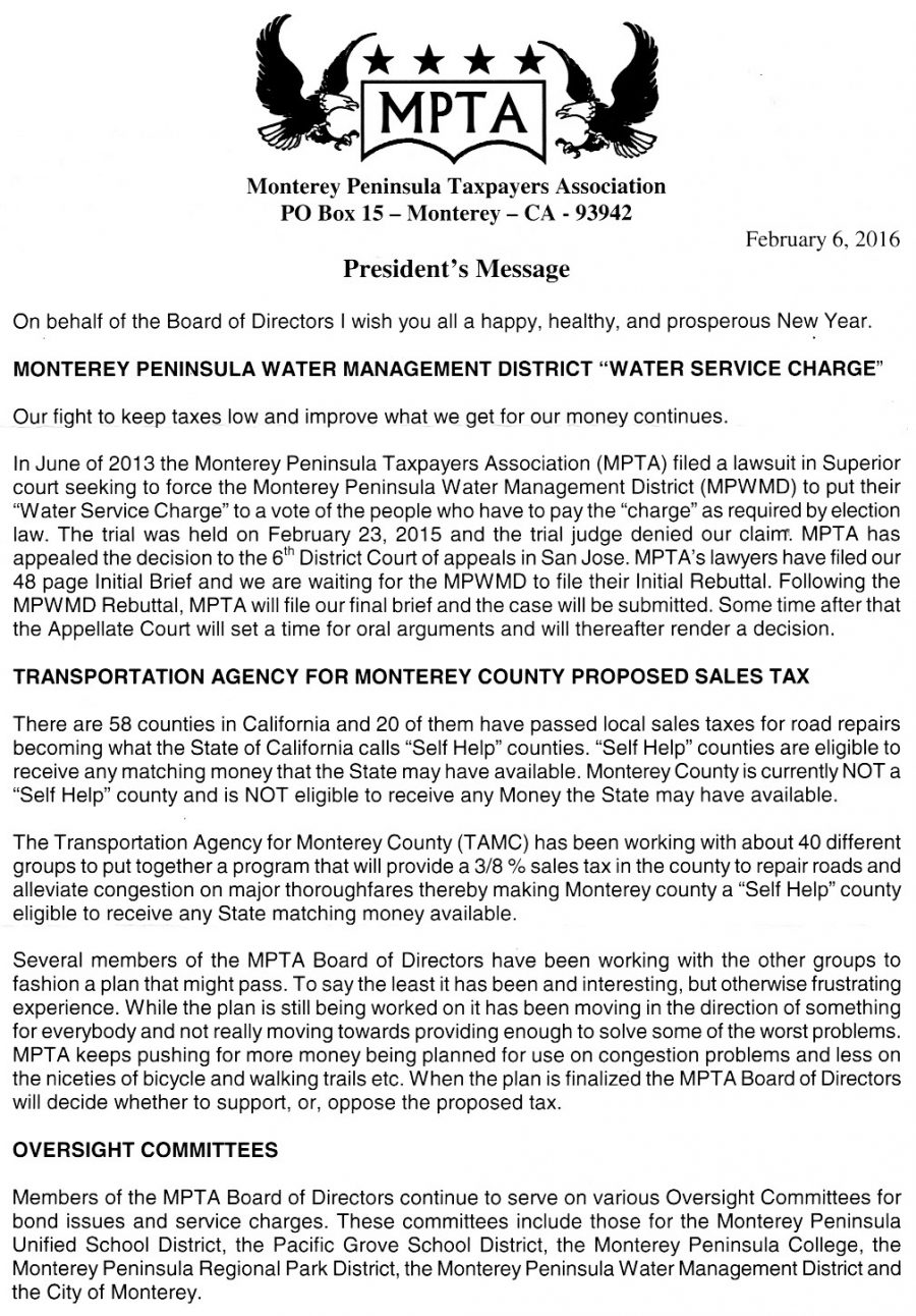 Monterey Peninsula Taxpayers Association Letter - February 6 2016 - Page 1