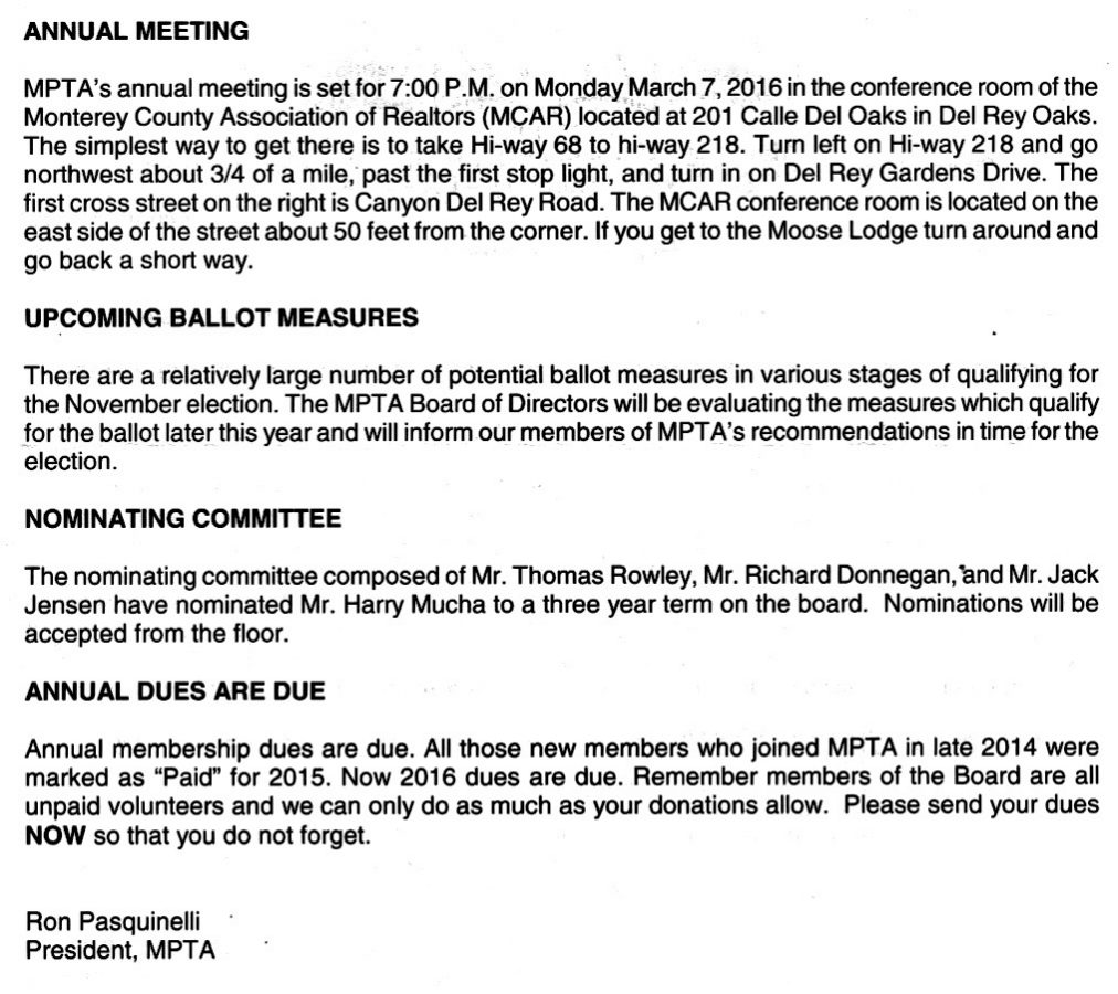 Monterey Peninsula Taxpayers Association Letter - February 6 2016 - Page 2