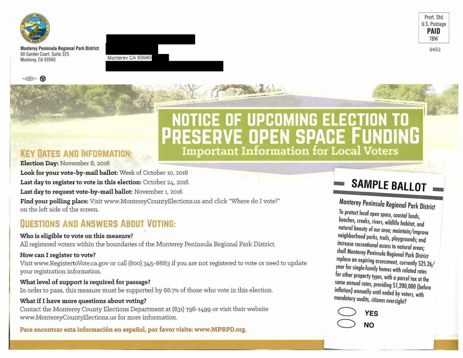 Monterey Peninsula Regional Park District Mailer Back July 7 2016