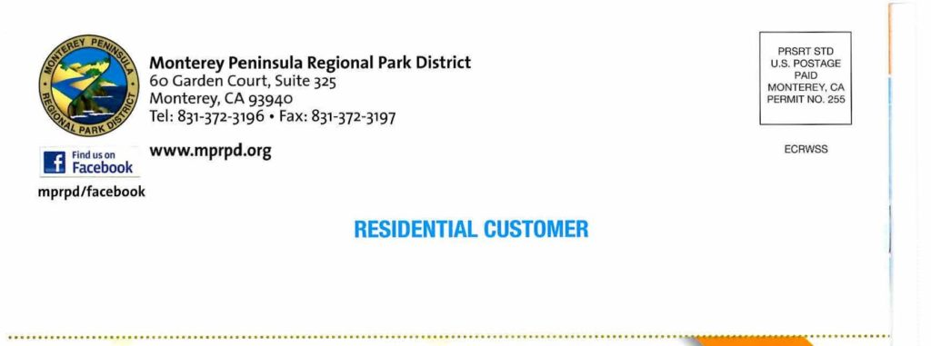 Monterey Peninsula Regional Park District Lets Go Outdoors Addressed to Residential Customer