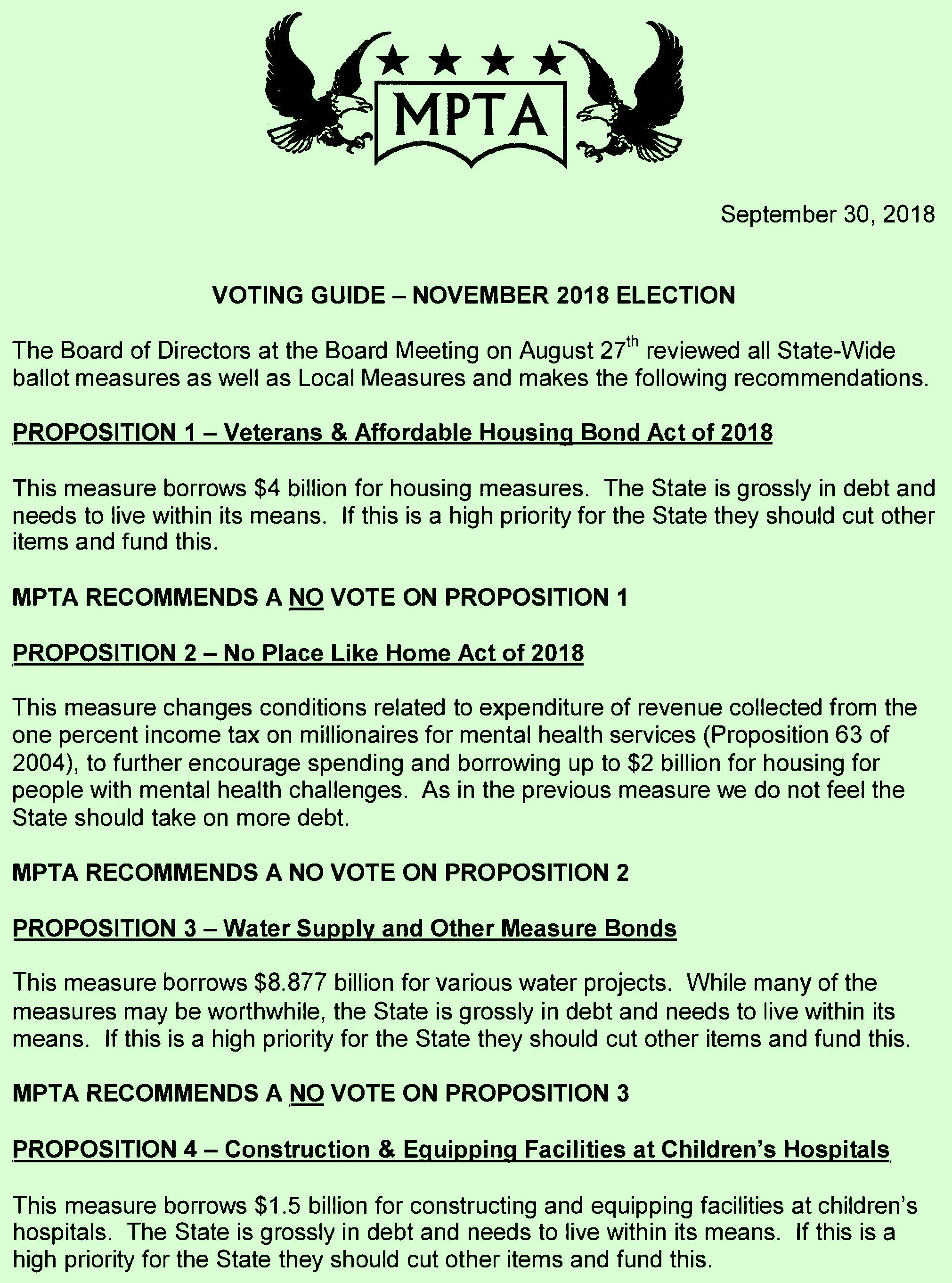 Monterey Peninsula Taxpayers Association November 2018 Election Recommendations Page 1