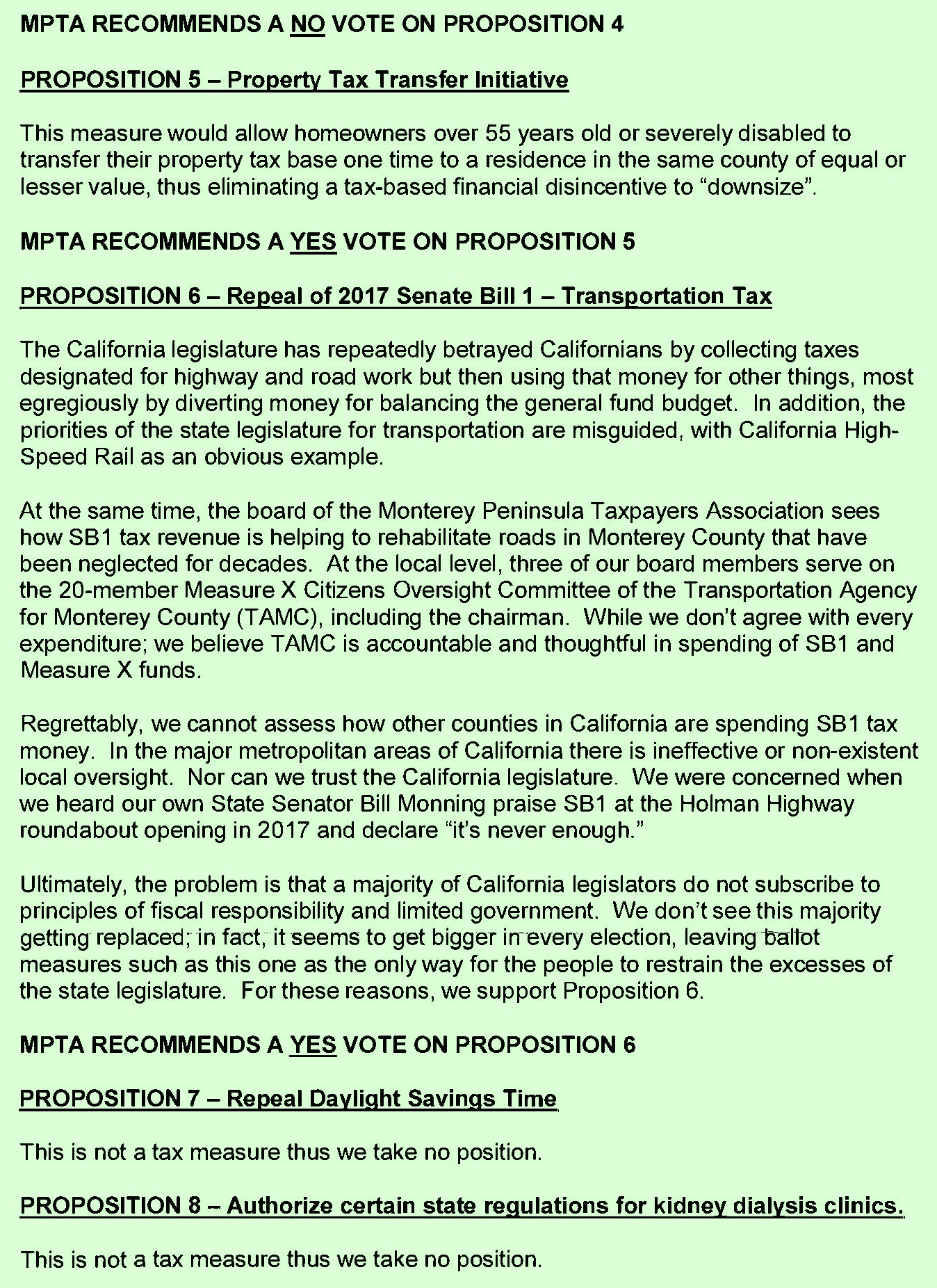 Monterey Peninsula Taxpayers Association November 2018 Election Recommendations Page 2