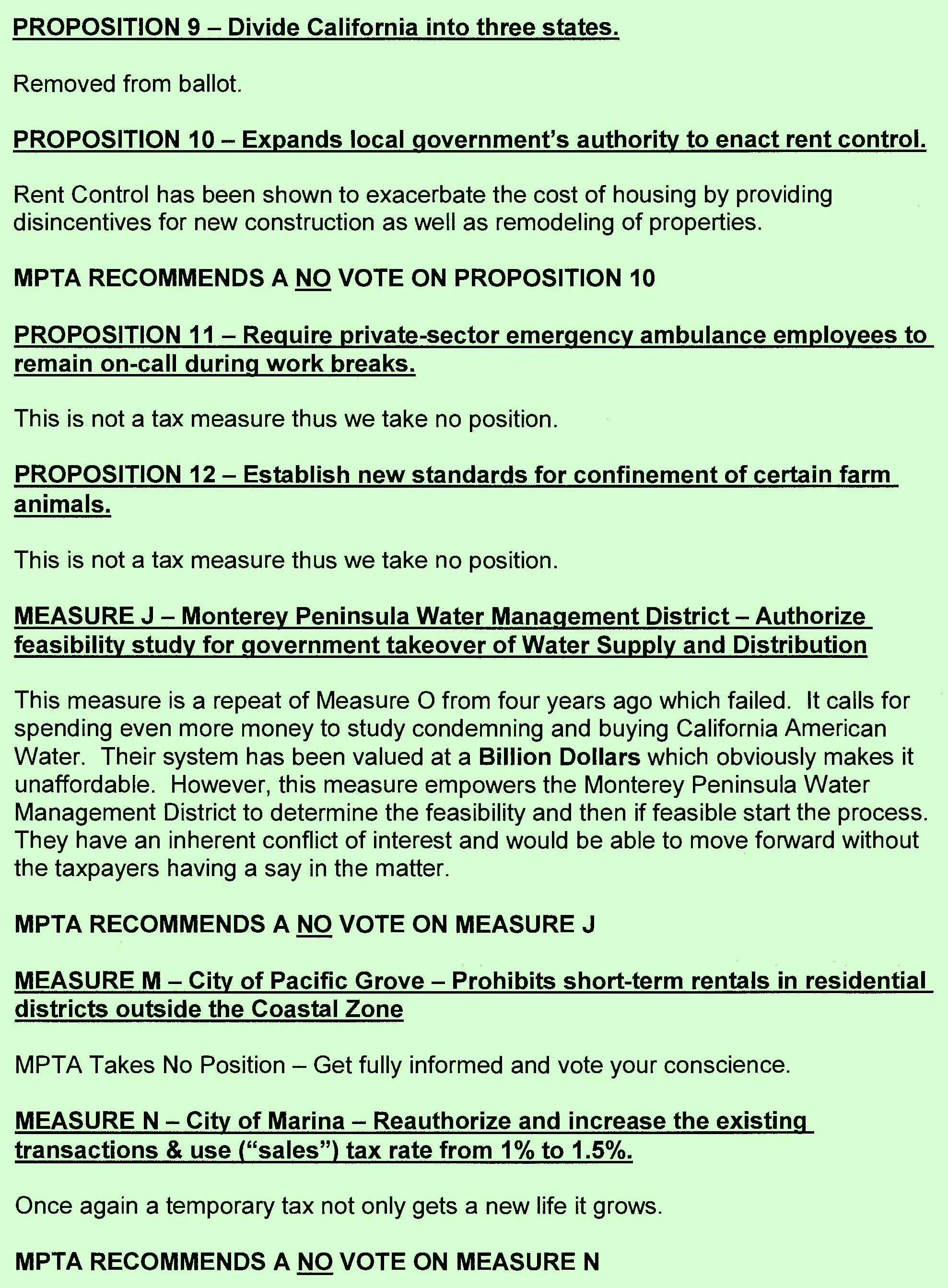 Monterey Peninsula Taxpayers Association November 2018 Election Recommendations Page 3