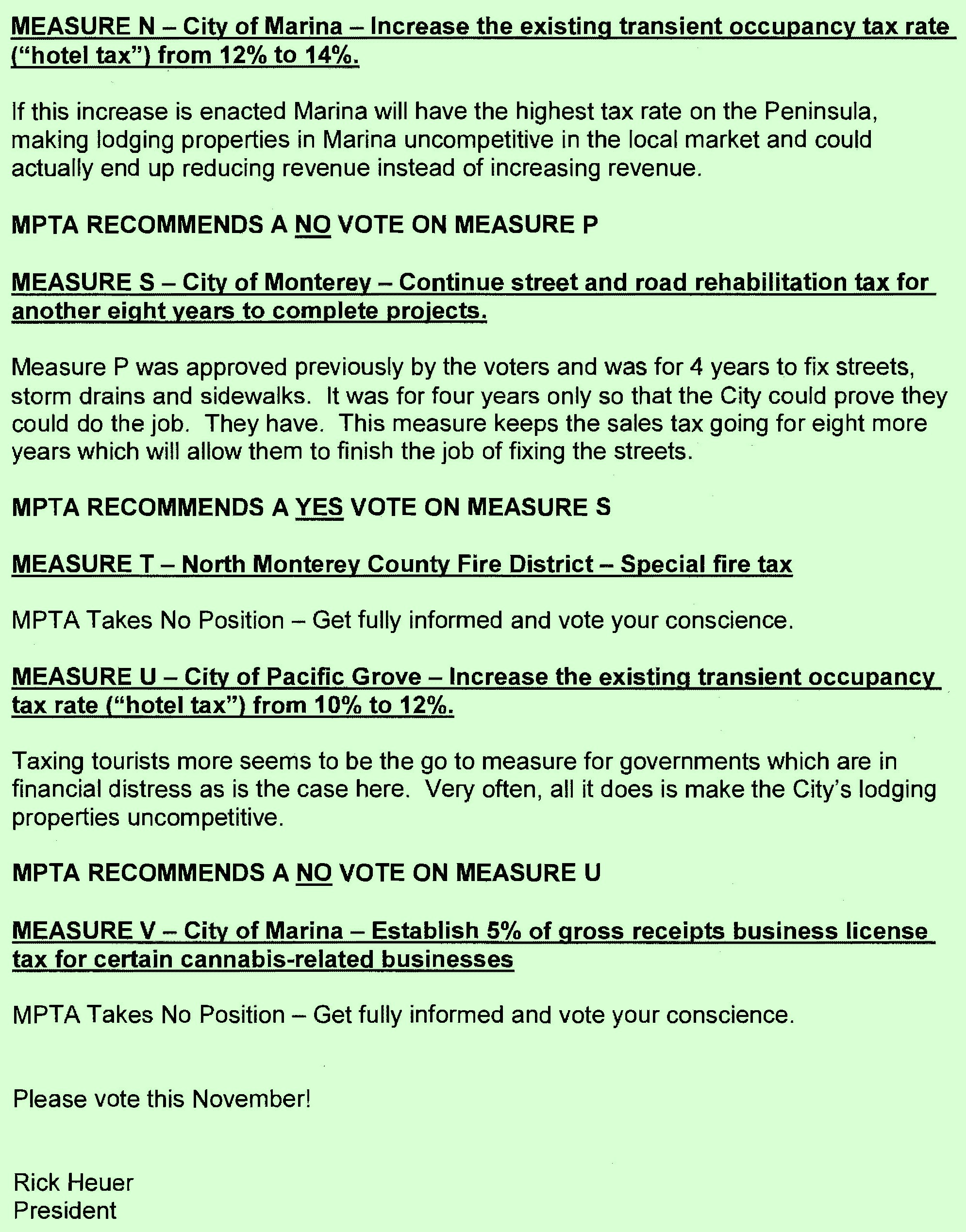 Monterey Peninsula Taxpayers Association November 2018 Election Recommendations Page 4